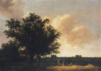 a view of leiden, with figures resting in the foreground by pieter cosyn