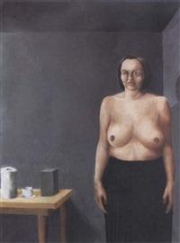 självporträtt med svart kjol by margareta renberg
