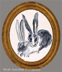 asleep in the race (two rabbits) by hunt slonem