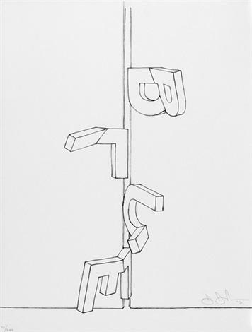 bent blue from graphikmappe des schweizerischen kunstvereins by jasper johns