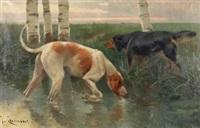 perros de caza by josep (josé) cusachs y cusachs