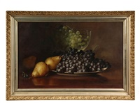 still life with grapes and pear, glass bowl by frederick s. batcheller