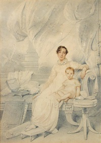 portrait of mrs william trant (charlotte lumsden of cushnie) and her daugher, maddalena trant (1813-1896), later the wife of neil edmonstone by george chinnery
