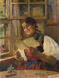 der liebesbrief: lesendes dirndl am fenster by carl kricheldorf