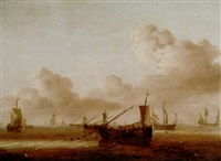 a dutch fishing fleet, a frigate and other vessels in a light air by hans (johan) goderis