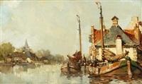 the river spaarne, haarlem, holland by hendrik willem koekkoek