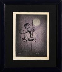 hombre con luna by rufino tamayo