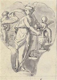 two cartouches with vestals in procession (+ a cartouche with a nymph attended by putti; 2 works) by peter anton von verschaffelt