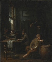 a tavern interior with figures drinking at a table and a man smoking a pipe by pieter harmensz verelst