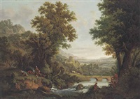 an extensive river landscape with artists sketching in the foreground, drovers and their herd by a bridge, a settlement beyond by george smith of chichester