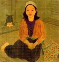junge frau mit orange-farbener jacke vor einer feuerstelle by linh chi