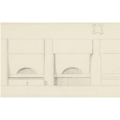 sketch for the boston public library addition the johnson building by philip cortelyou johnson
