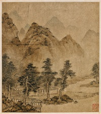 landscape (pair) by zhuang jiongsheng