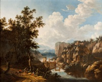 landscape with trees, figures, river and houses by nicolaes berchem