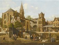 utrecht: the market square and cathedral by jan hendrik verheyen
