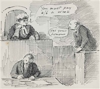 the judgement: illustration for henry cecil's, return to counsel by edward ardizzone
