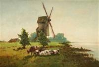 vaches sur fond de paysage avec moulin by frans van damme