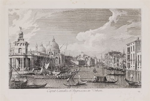 ex aede salutis usque ad caput canalis caput canalis et ingressum in urbem 2 works after a canaletto by antonio visentini