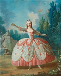 portrait of barbara campanini (1721-1799), known as la barbarina, dancing in a garden, probably in versailles by jean-philippe de la roche