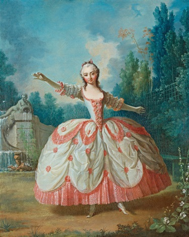 portrait of barbara campanini 1721 1799 known as la barbarina dancing in a garden probably in versailles by jean philippe de la roche