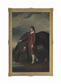 portrait of john wharton tempest (1772-1793), full-length, in a brown coat and breeches, with his horse by a stream, in a landscape by george romney