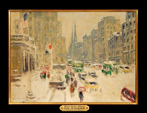 winter scene 5th avenue the library by guy carleton wiggins