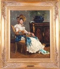 dama en un interior by françois barthélemy marius abel