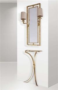 consolle con specchio e due appliques by robert thibier