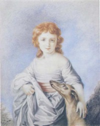 portrait of a girl with her greyhound by frederick cruickshank