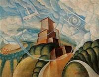 aeropaesaggio con torre by alessandro bruschetti