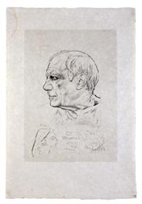 retrato de pablo picasso y remarque pour témoignage by paul p. lemagny and pablo picasso