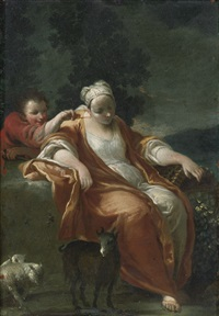 a shepherdess resting, with a young boy tickling her ear by jan wildens