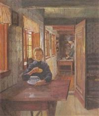 knabe am frühstückstisch (hausinterieur am alten strom in rostock, warnemünde) by heinrich linde-walther