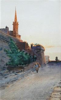 view in malta with a church by nicholas krasnoff