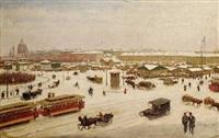 der naschmarkt mit blick auf die karlskirche im winter by josef pögl