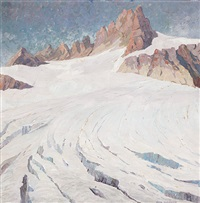 sonnig beleuchteter marmolata-gletscher by joan anacker