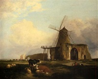 view of st benet's abbey, norfolk, with figures, cattle and sheep in the foreground by miles edmund cotman