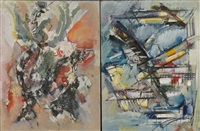 two abstract compositions (2 works) by roger lersy