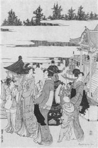 spaziergang im tempelbezirk by utagawa toyohiro