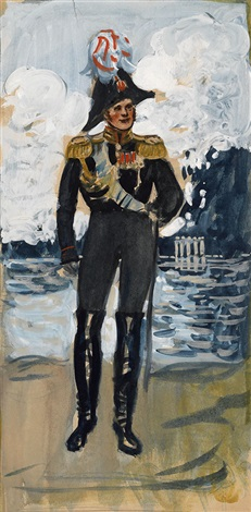 study for the portrait of alexander i by boris mikhailovich kustodiev