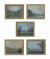 views of wynyard hall, durham (5 works) by john claude nattes