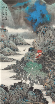 欸乃声声 镜框 设色纸本 ( landscape) by liu tongcheng