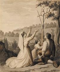 italienische bauernfamilie am wegkreuz by peter rittig