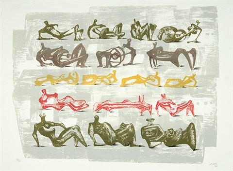 trees red and blue standing figures seventeen reclining figures four grey ladies 4 works by henry moore