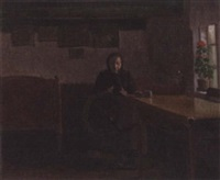 old woman spinning in a cottage interior by niels holbak