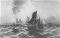 seestück mit fischerbooten by p. lehmann
