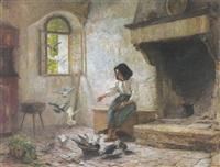 mädchen beim taubenfüttern by wilhelm von lindenschmit the younger