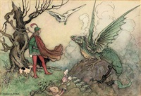 a young knight facing a dragon by warwick goble