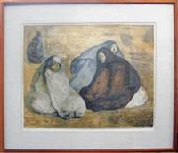 grupo de mujeres sentatadas i by francisco zúñiga