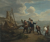 a peddler hawking spirits to fishermen along a windy shoreline by jan josef horemans the younger